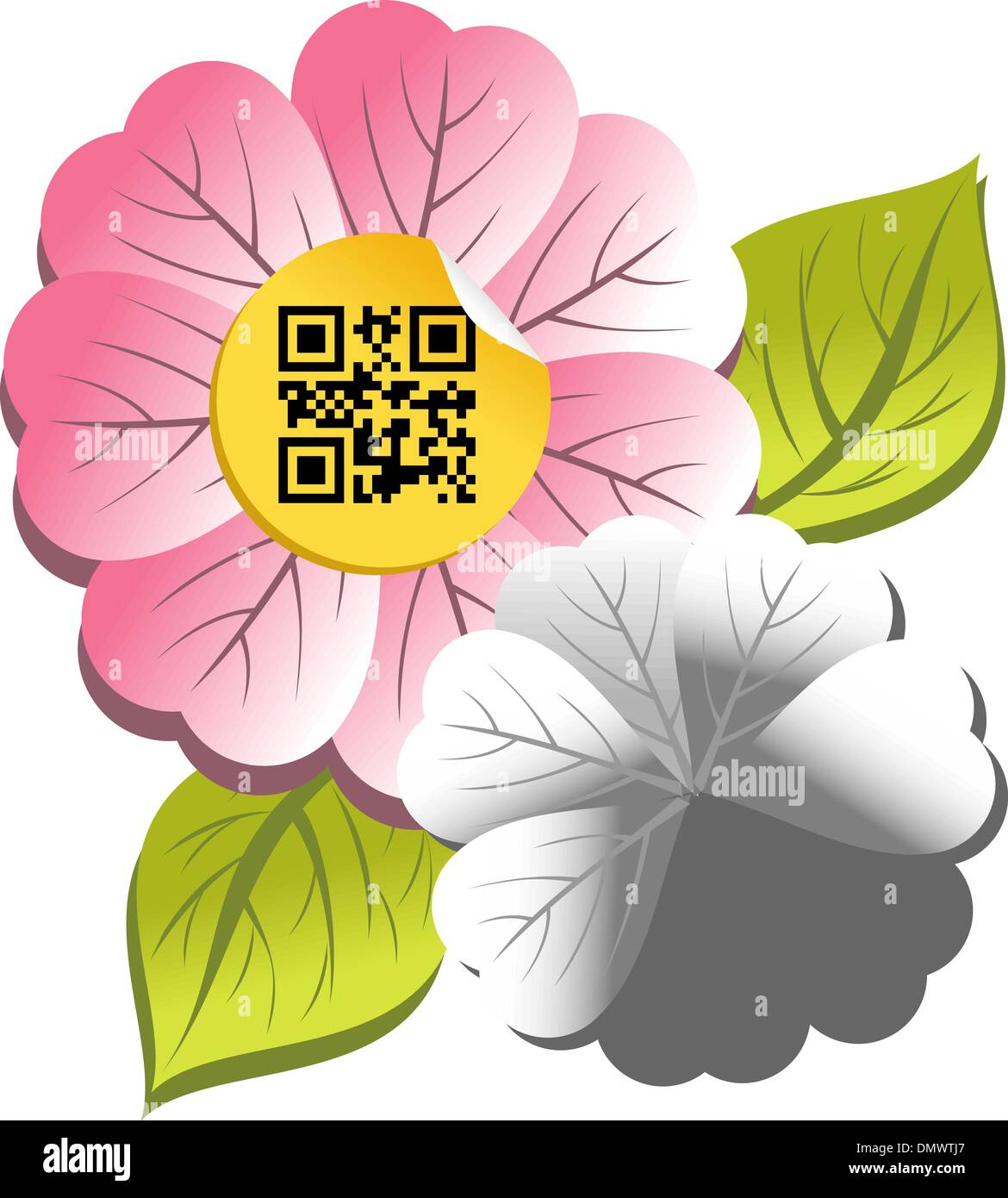 Spring time flower with qr code label - Stock Image