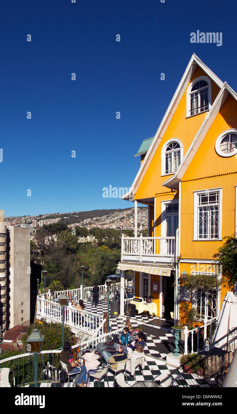 The Brighton Hotel and its terrace. Valparaiso, Chile. - Stock Image