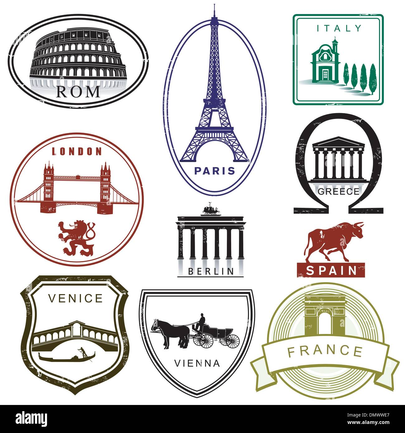 Passport Stamps Europe Stock Photos