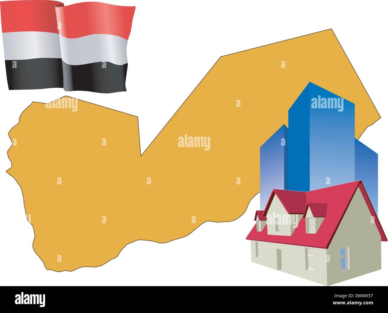 hotel in Yemen - Stock Vector