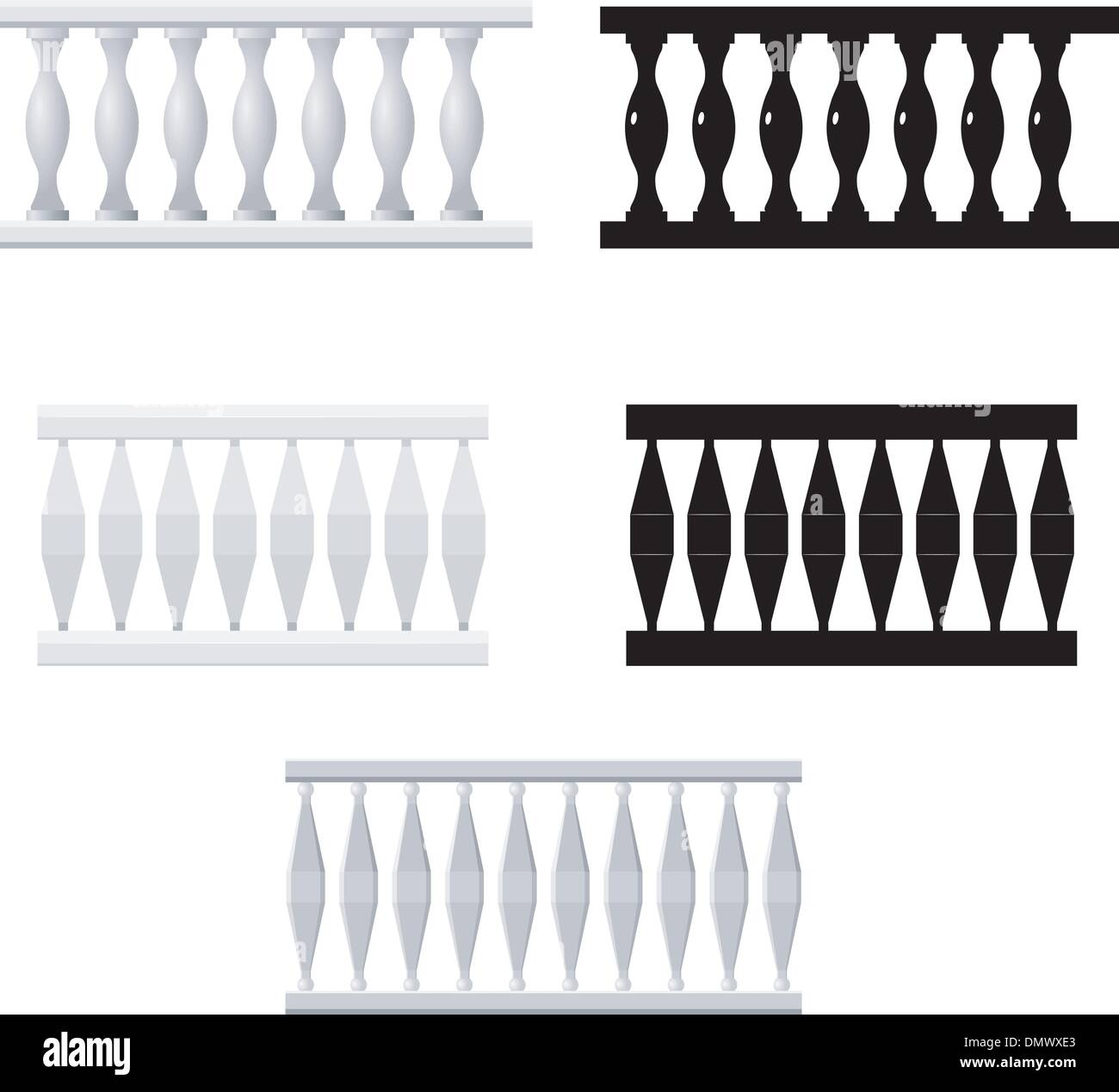 Set  of silhouettes balusters - Stock Vector