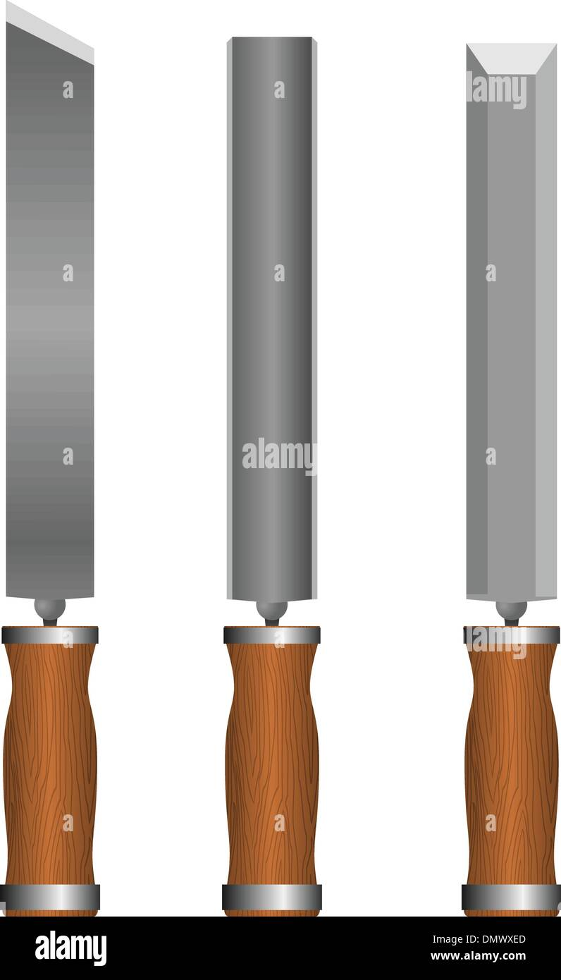 Set of chisels Stock Vector