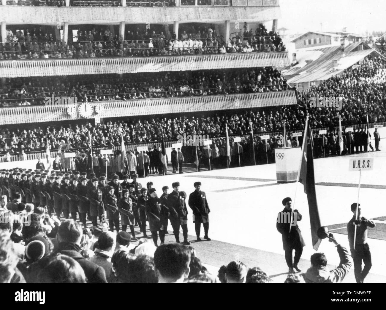 Jan. 26, 1956 - Cortina d'Ampezzo, Italy - Inauguration of the 7th Olympics Winter Games at Cortina d'Ampezzo, Italy in 1956. PICTURED: The National team of the Soviet Union enters the stadium. (Credit Image: © KEYSTONE Pictures USA/ZUMAPRESS.com) - Stock Image