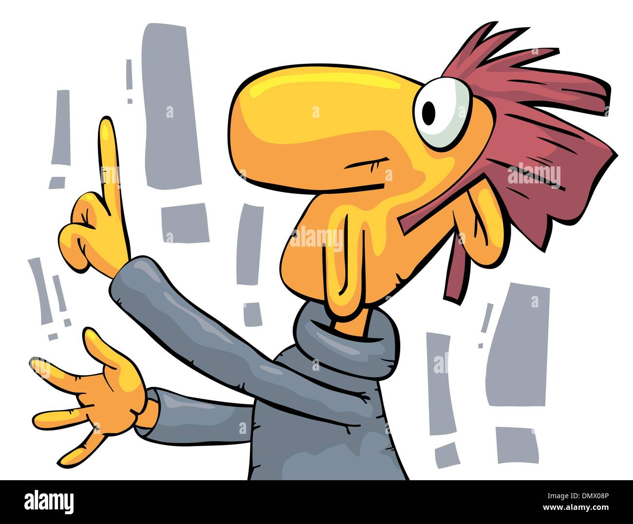Lecturer pointing at something - Stock Vector