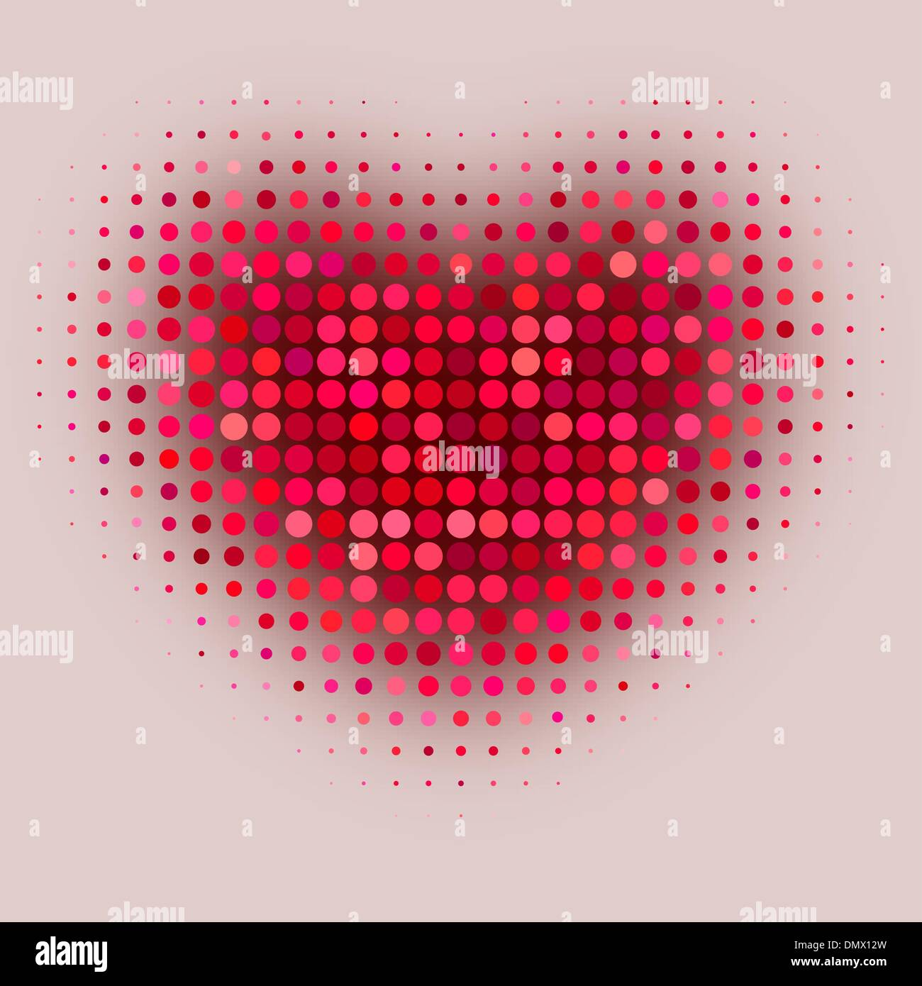 Red color halftone heart shape - Stock Image