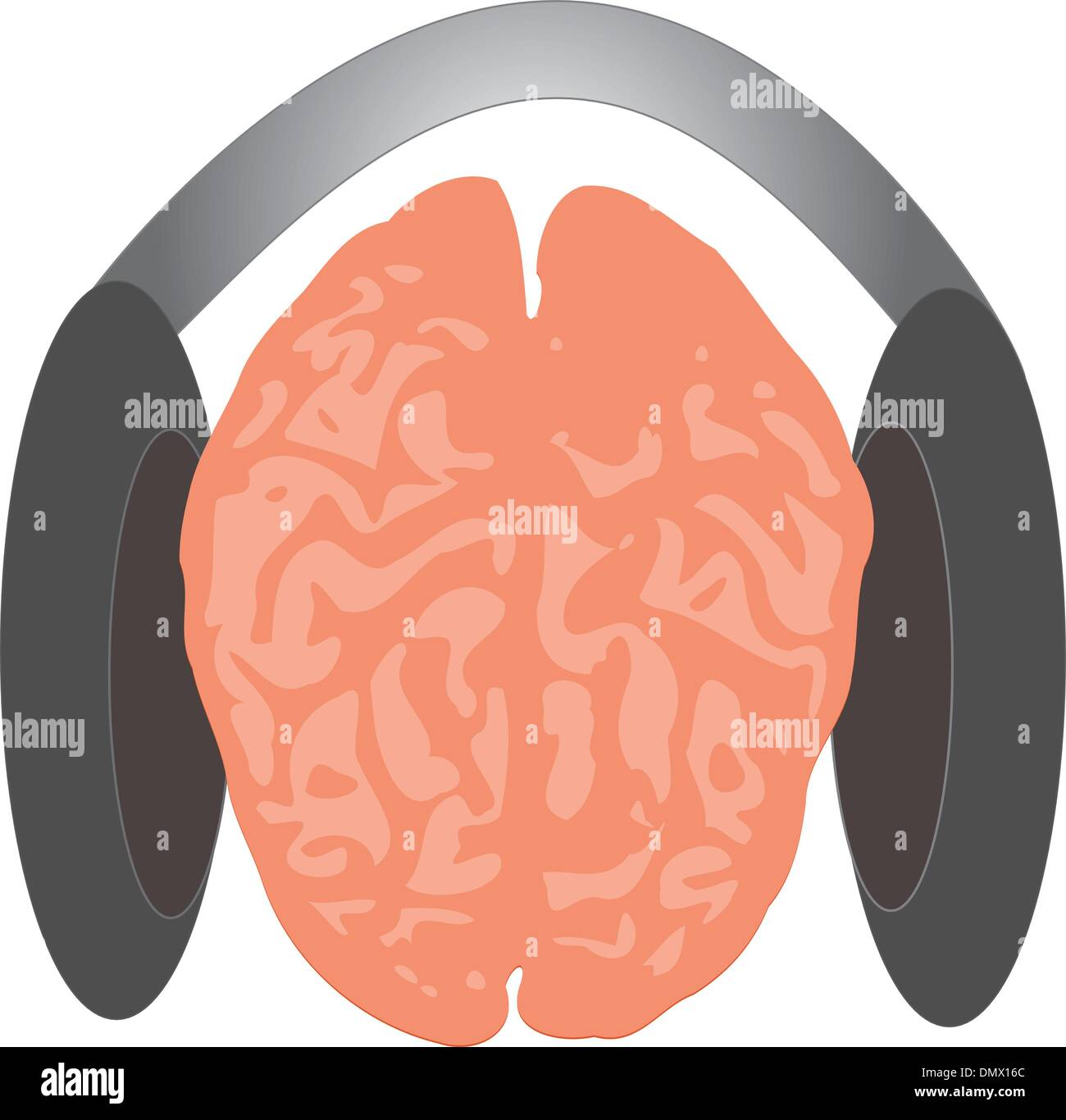 Brain listenimg to sounds - Stock Image