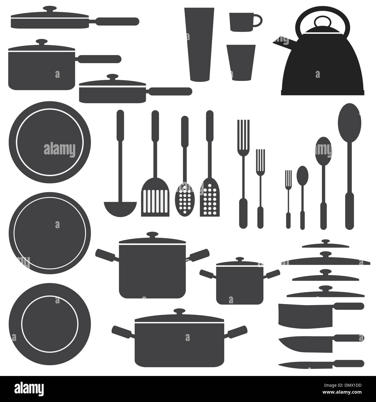 Kitchen Utensils In White And Black Colours Stock Vector Art