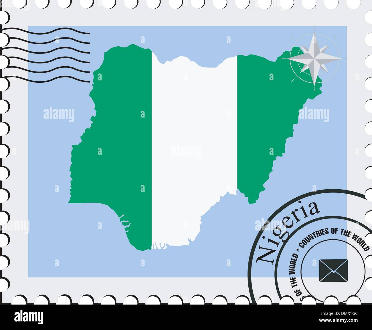 Vector stamp with the image maps of Nigeria - Stock Vector