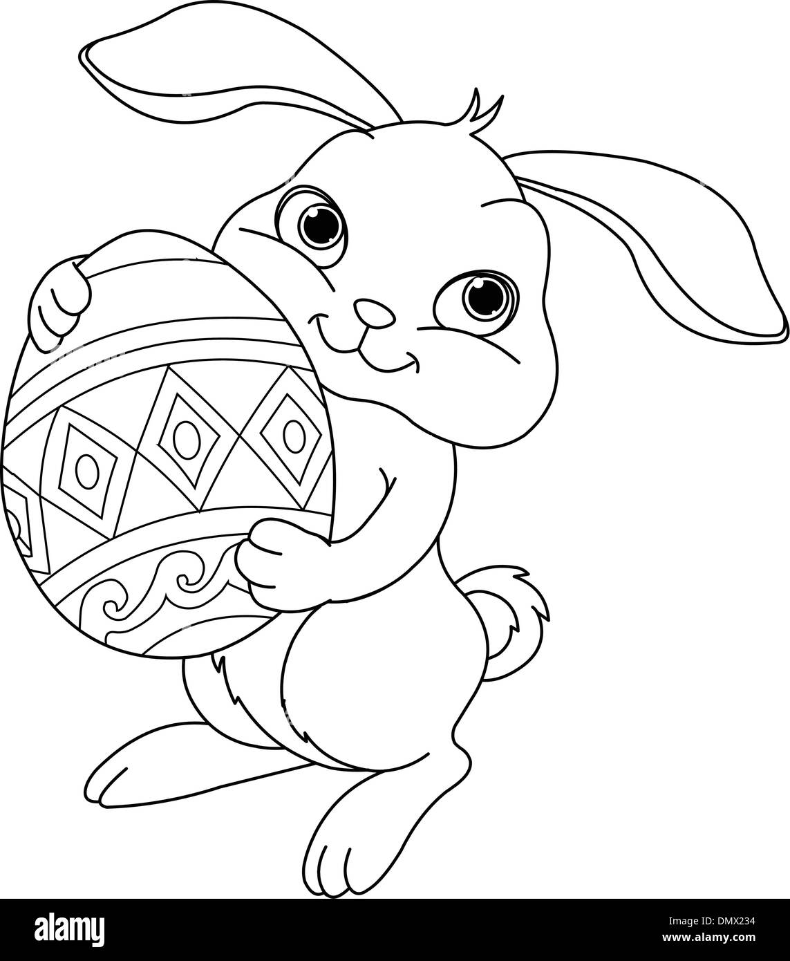 Easter bunny. Coloring page Stock Vector Art & Illustration, Vector ...