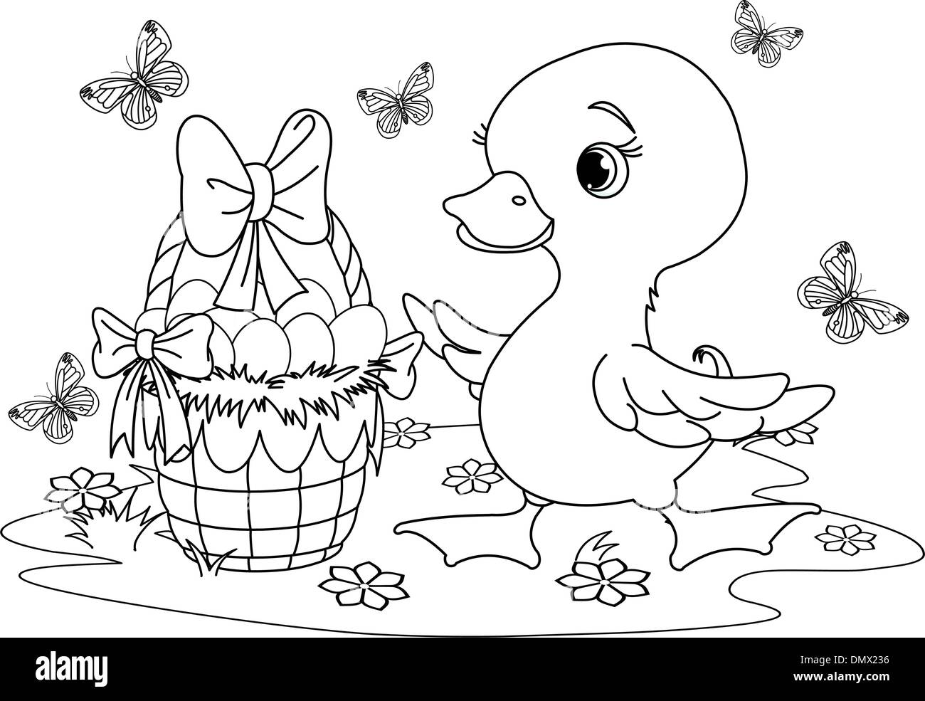 Easter duckling. Coloring page Stock Vector Art & Illustration ...