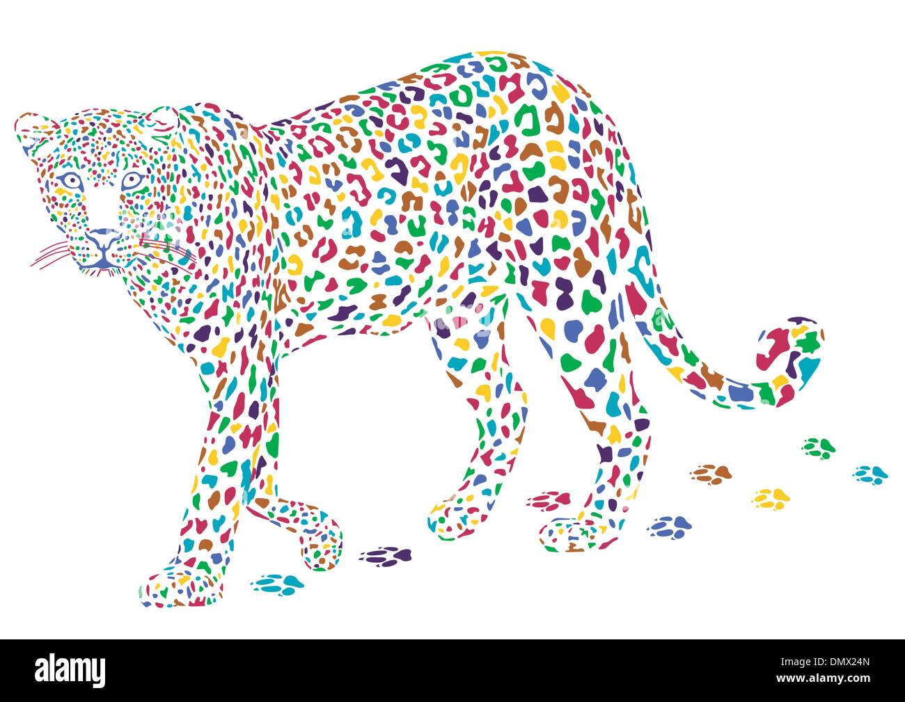 more colorful leopard - Stock Image