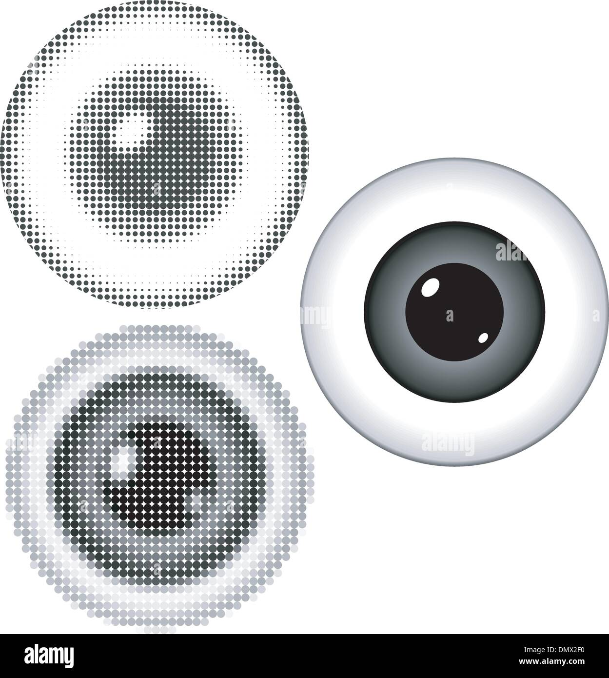 Vector illustration of stylized eyeball with a pupil - Stock Image