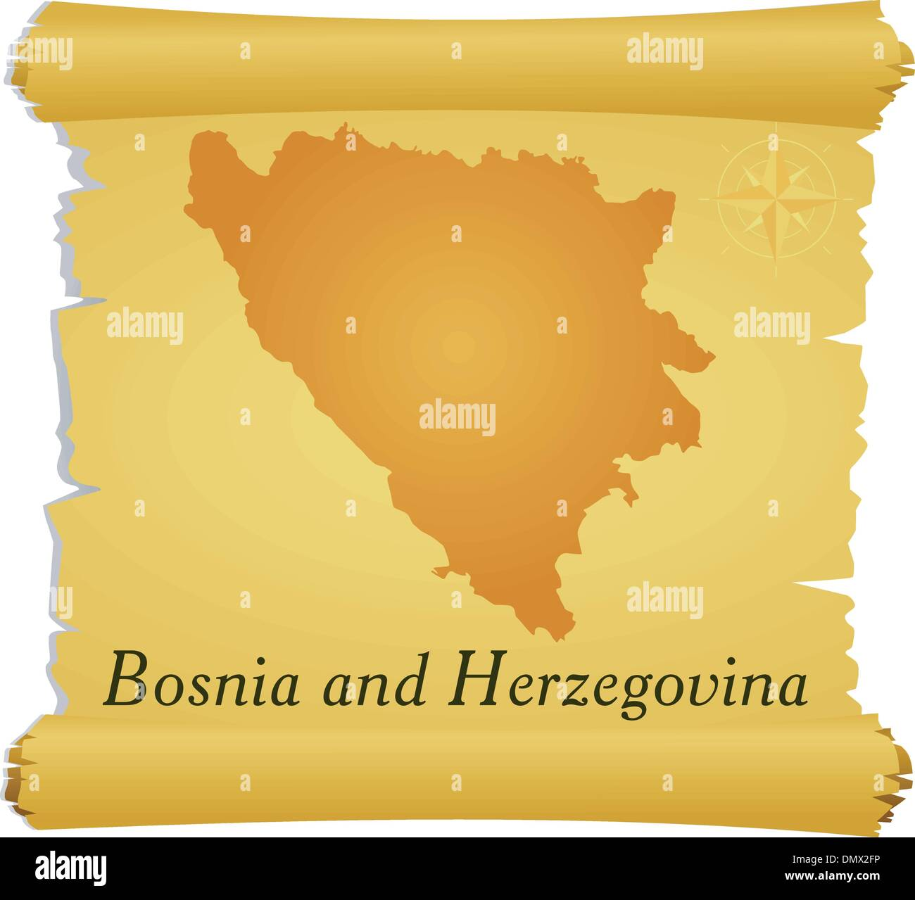 Vector parchment with a silhouette of Bosnia and Herzegovina - Stock Vector