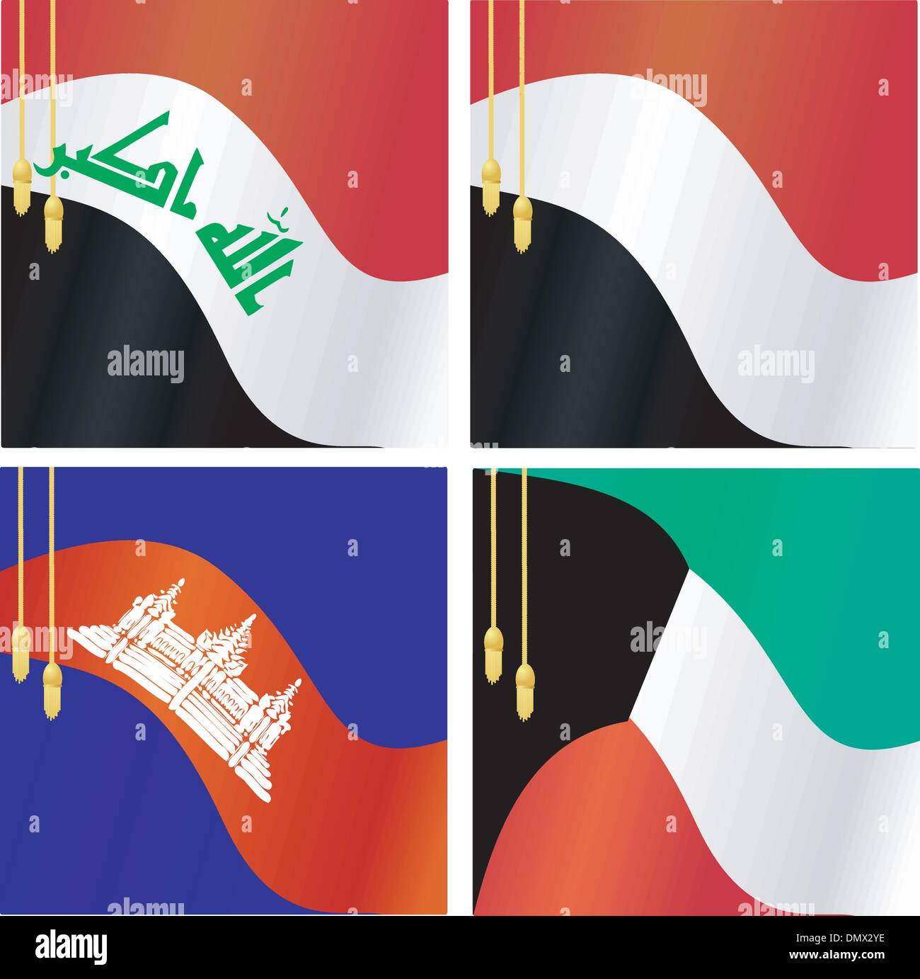 Collection of vector illustrations of flags of Iraq, Yemen, Cam - Stock Vector