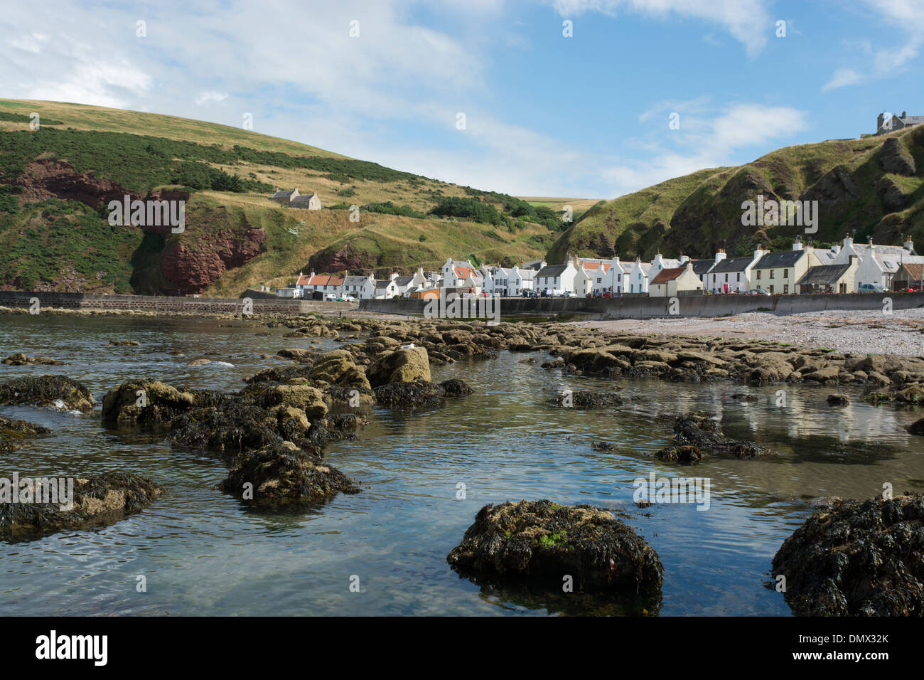 pennan shore moray village rocks - Stock Image