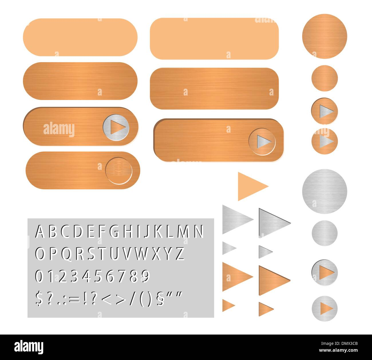 vector buttons polished copper - Stock Vector