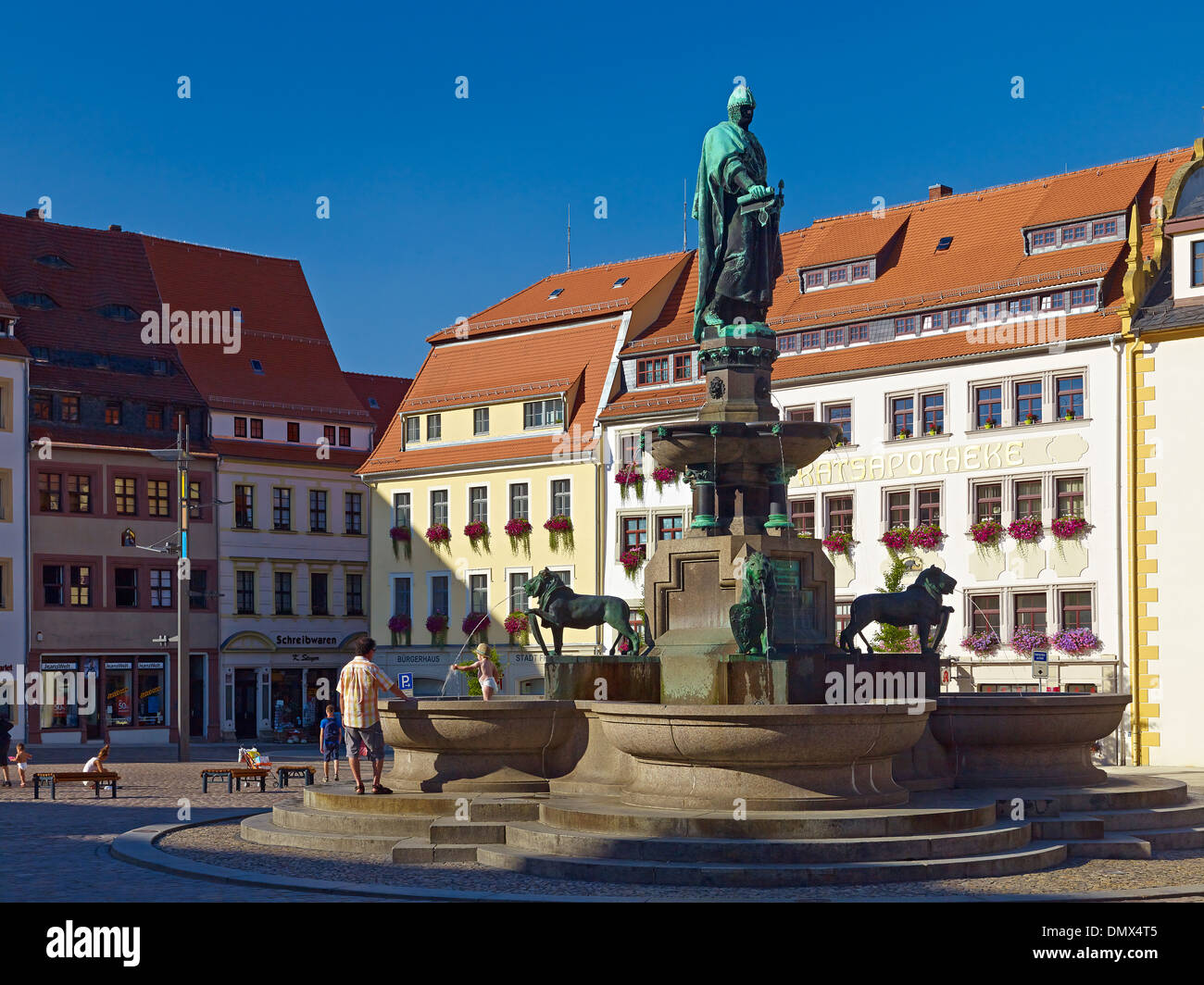 Obermarkt square and fountain with Otto II monument in Freiberg, Mittelsachsen District, Saxony, Germany - Stock Image