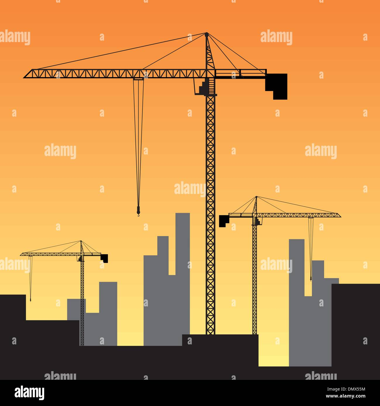 Construction site on sunset. Stock Vector