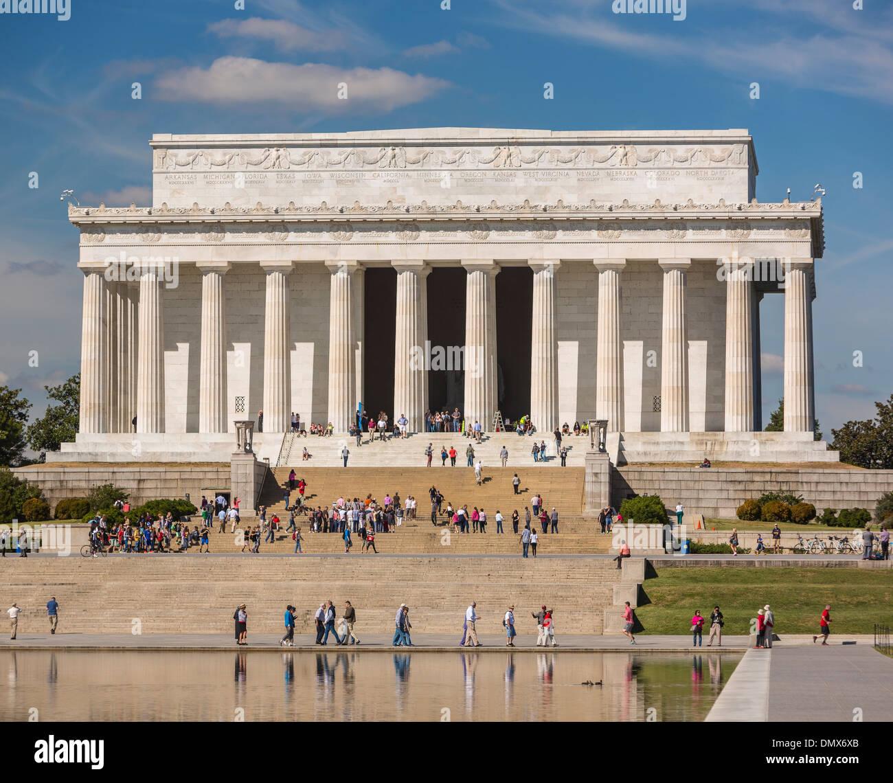 WASHINGTON, DC, USA - Lincoln Memorial and Reflecting Pool. Stock Photo