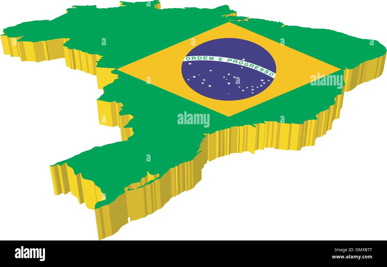 vectors 3D map of Brazil - Stock Image