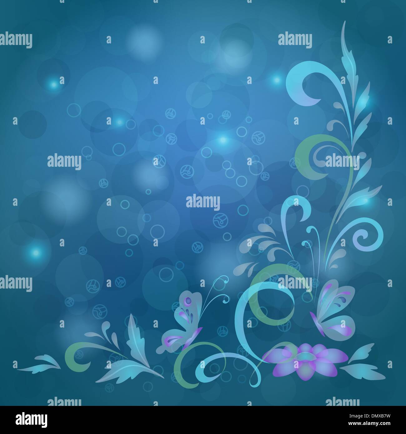 Background, butterflies and flowers Stock Vector