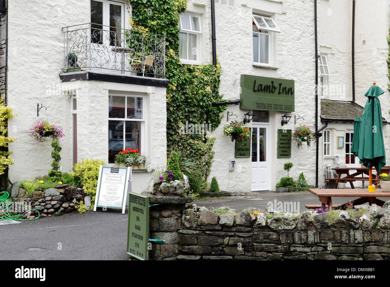 The Lamb Inn traditional village pub and restaurant, part of the Red Lion Hotel in Grasmere, Lake District, Cumbria, England, UK - Stock Image