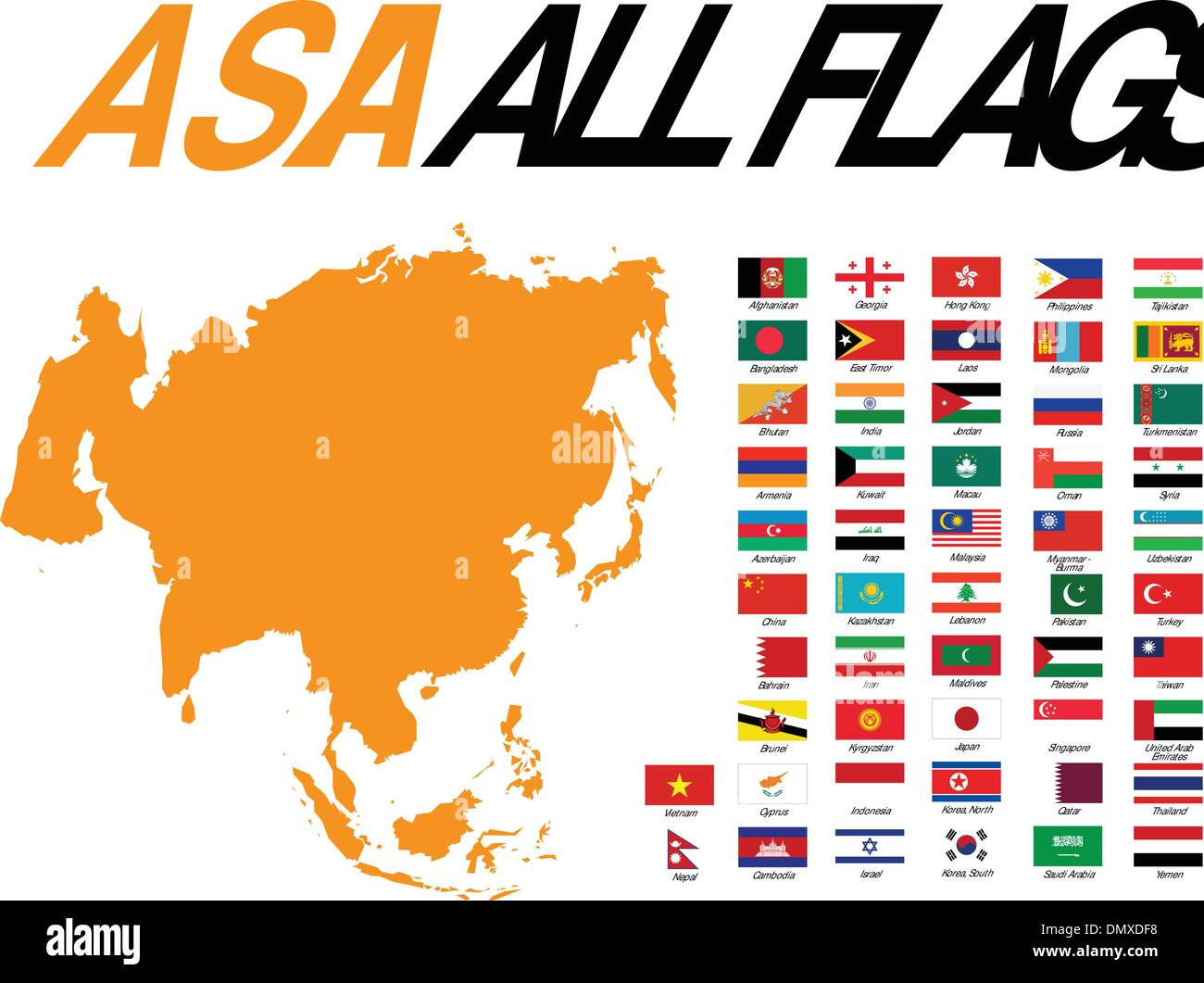 Asia All Flags - Stock Vector