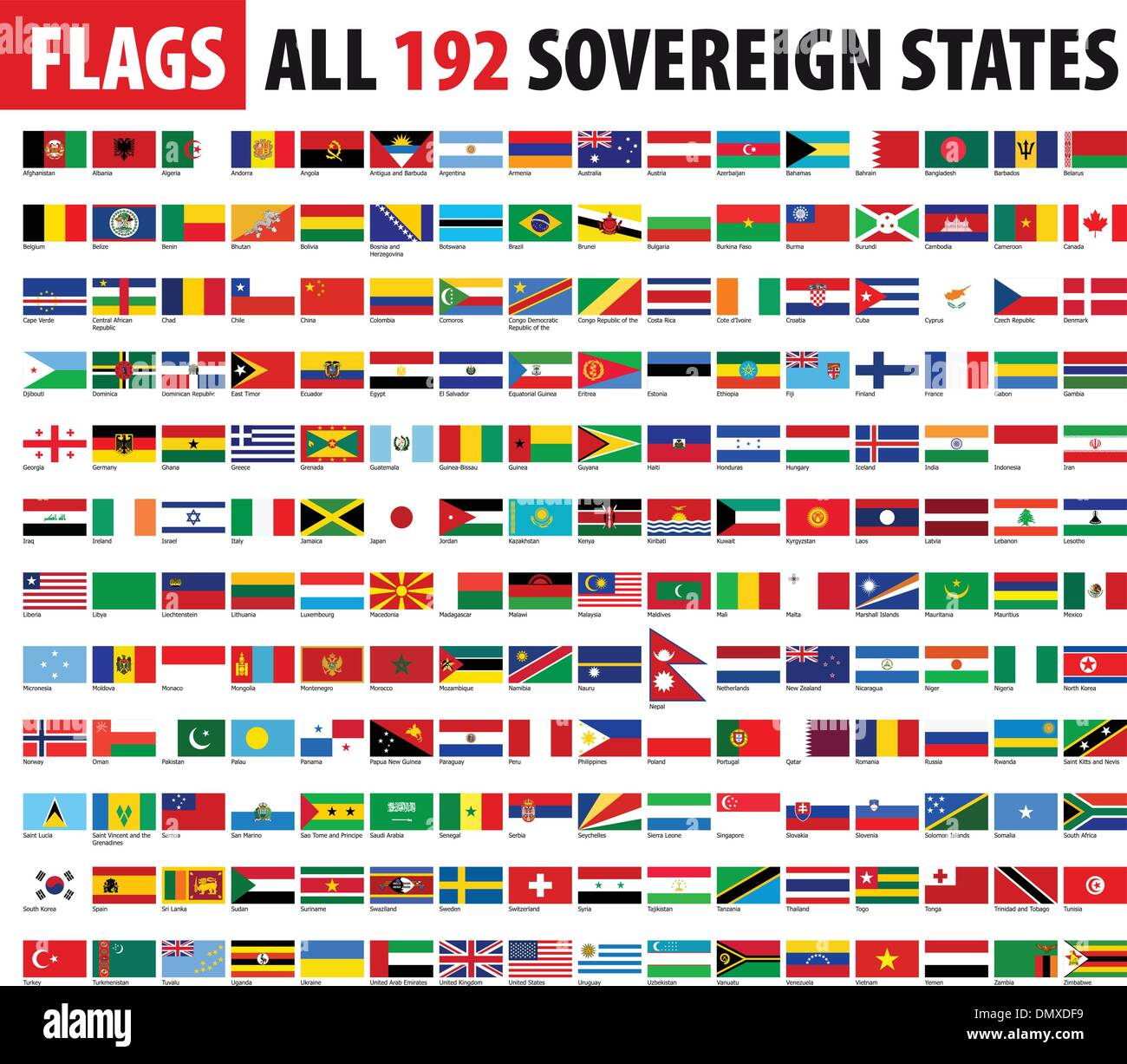 All 192 Sovereign States - World Flags Series - Stock Vector