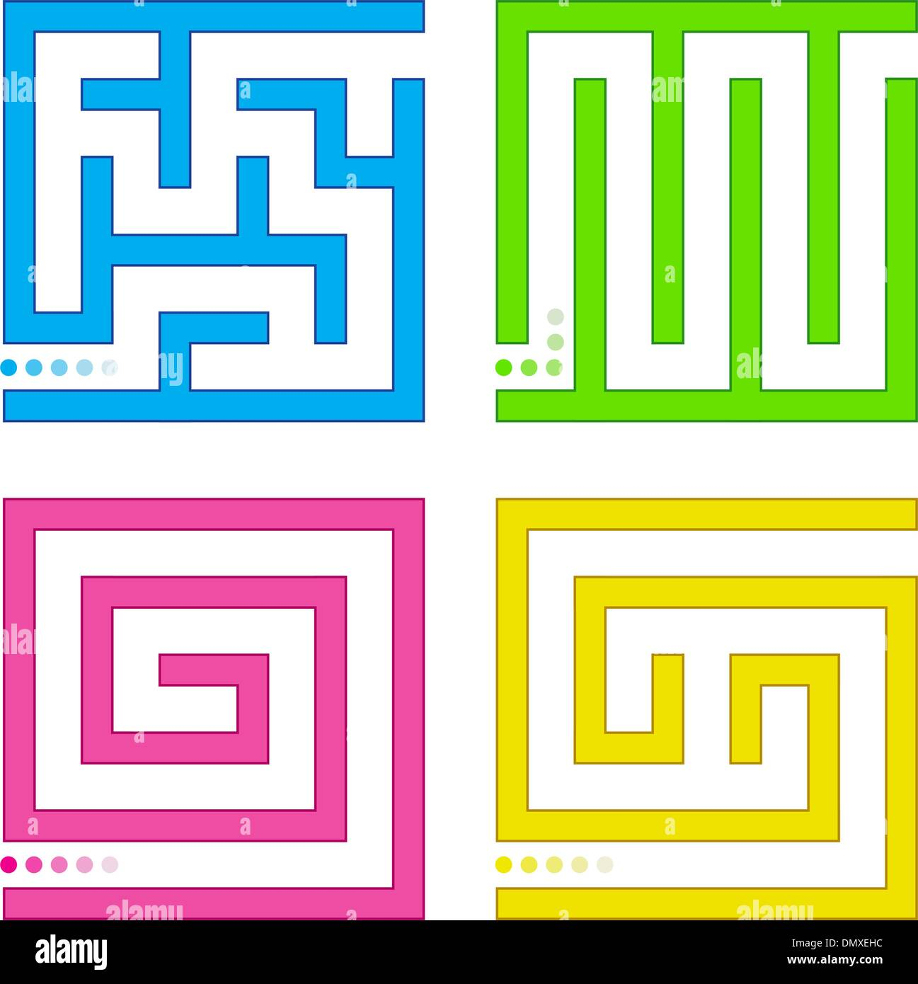 Small vector mazes - Stock Image