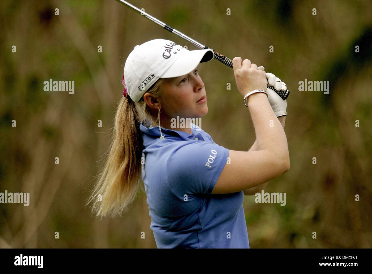 Feb 15, 2006; Oahu, HI, USA; Morgan Pressel watches after hitting her ball during Wednesday's SBS Open Turtle Bay Resort Official Pro-Am, held on the North Shore in Oahu, Hawaii.  Mandatory Credit: Photo by Libby Volgyes/Palm Beach Post/ZUMA Press. (©) Copyright 2006 by Palm Beach Post - Stock Image