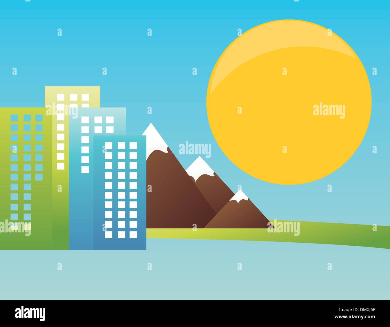 City in mountains - Stock Vector