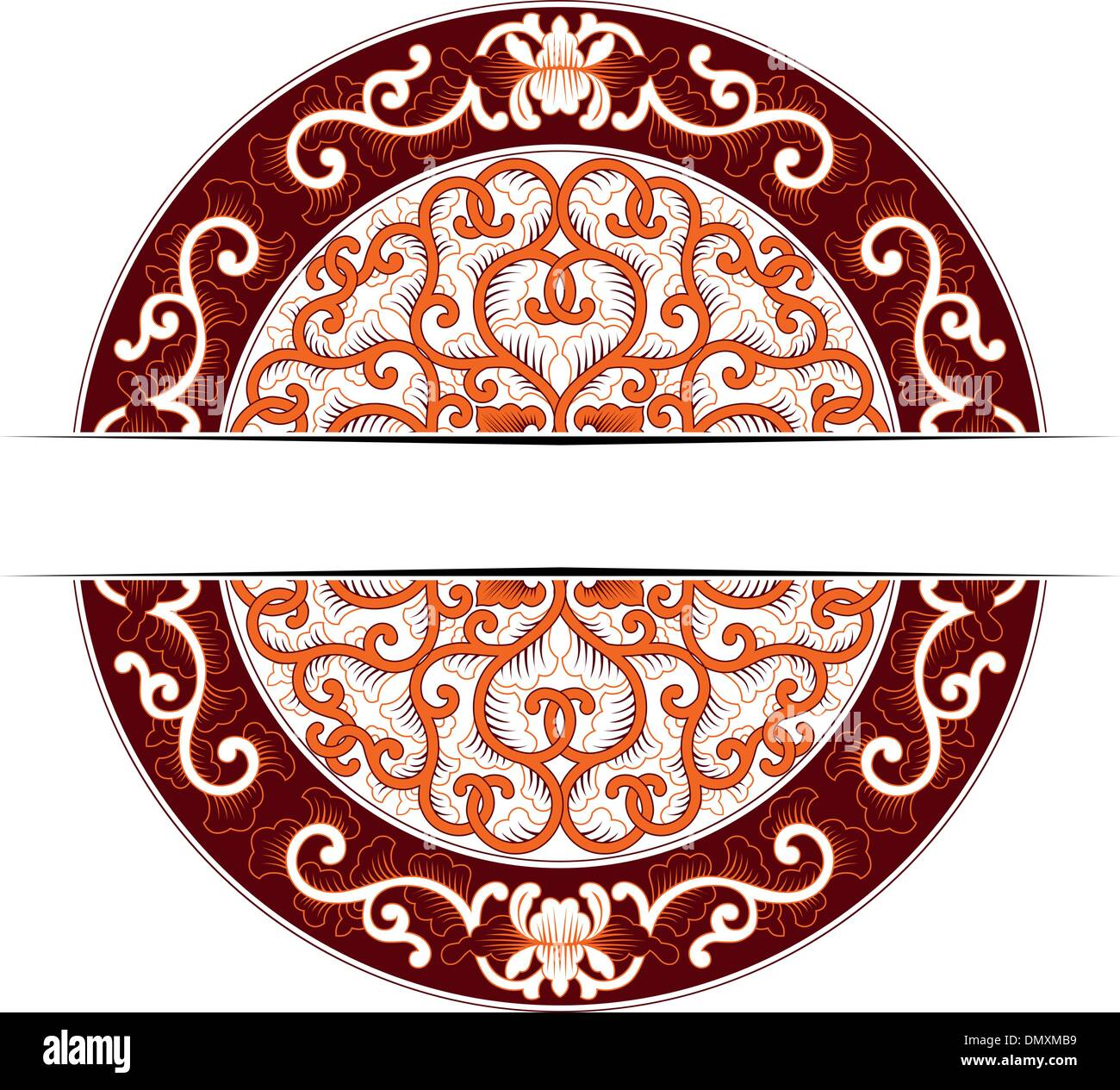 asia circle ornate - Stock Vector
