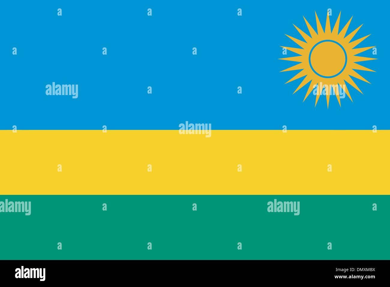 Vector illustration of the flag of Rwanda - Stock Vector