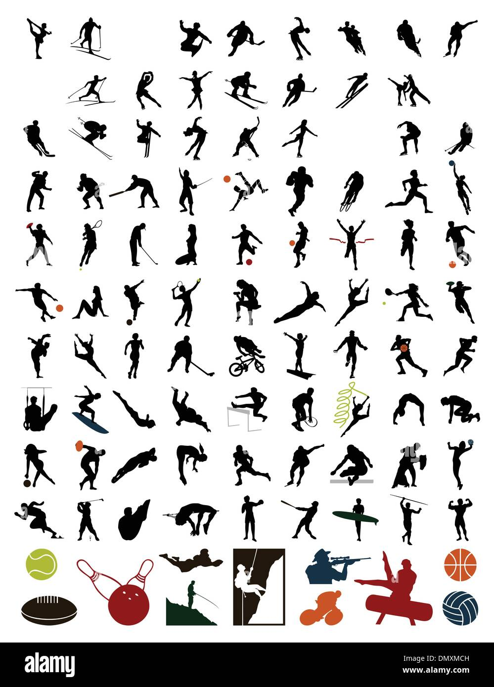 Collection of silhouettes of sportsmen - Stock Vector