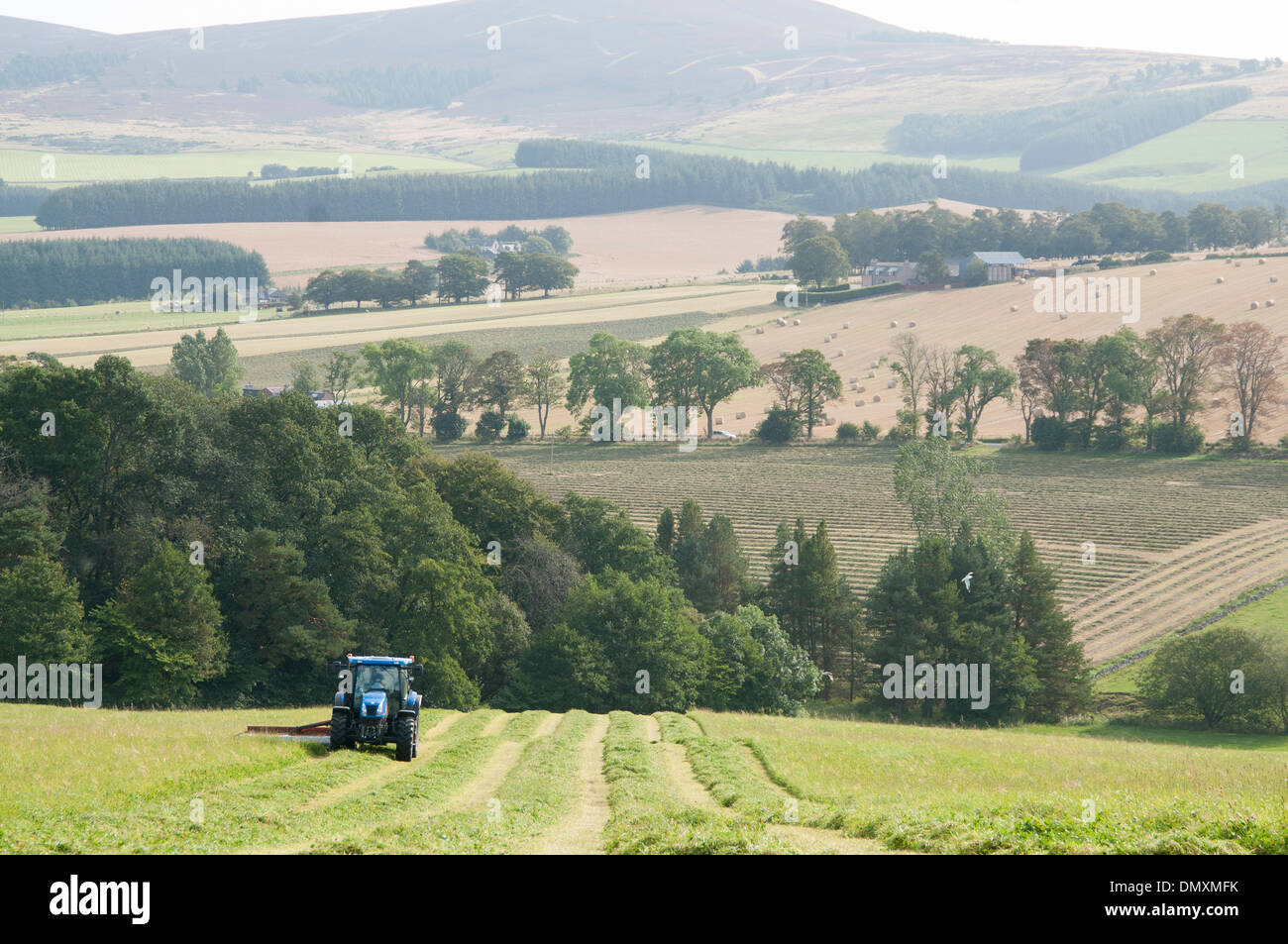 royal deeside in the scottish countryside with farming and a tractor - Stock Image