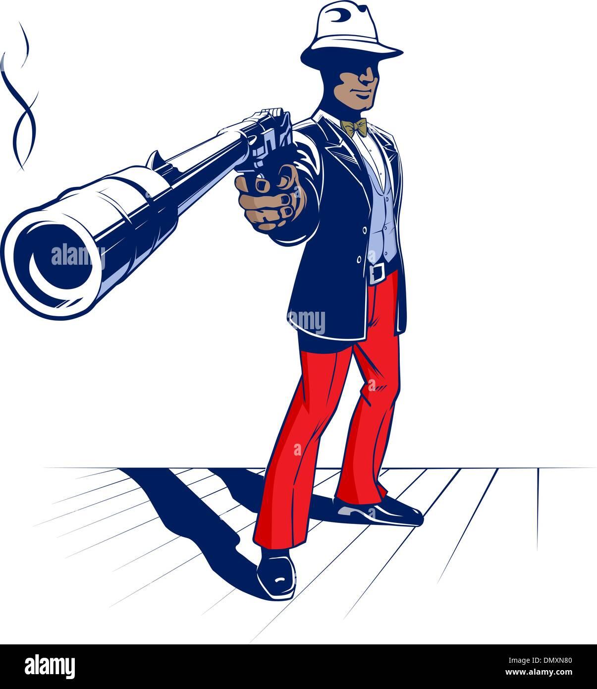 cartoon illustration of mobster - Stock Image