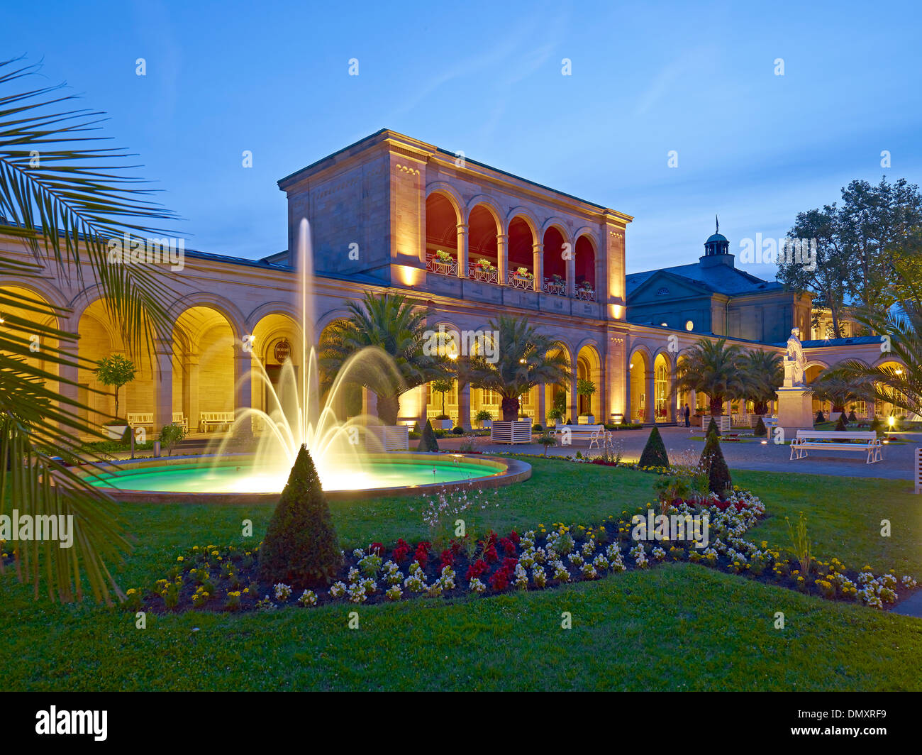 Arcaded building at the spa gardens in Bad Kissingen, Lower Franconia, Bavaria, Germany - Stock Image