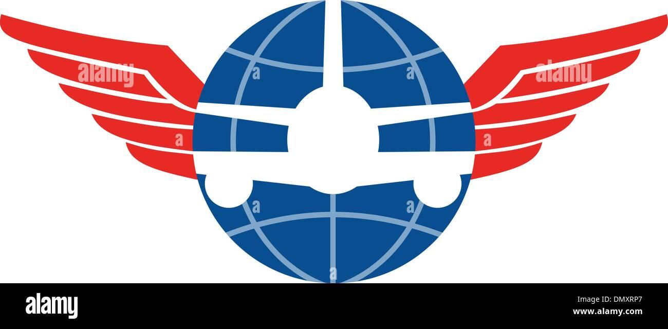 Jumbo Jet Plane Front Wings Globe Stock Vector
