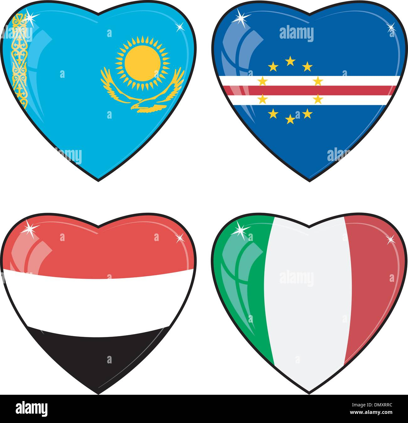Set of vector images of hearts with the flags - Stock Vector