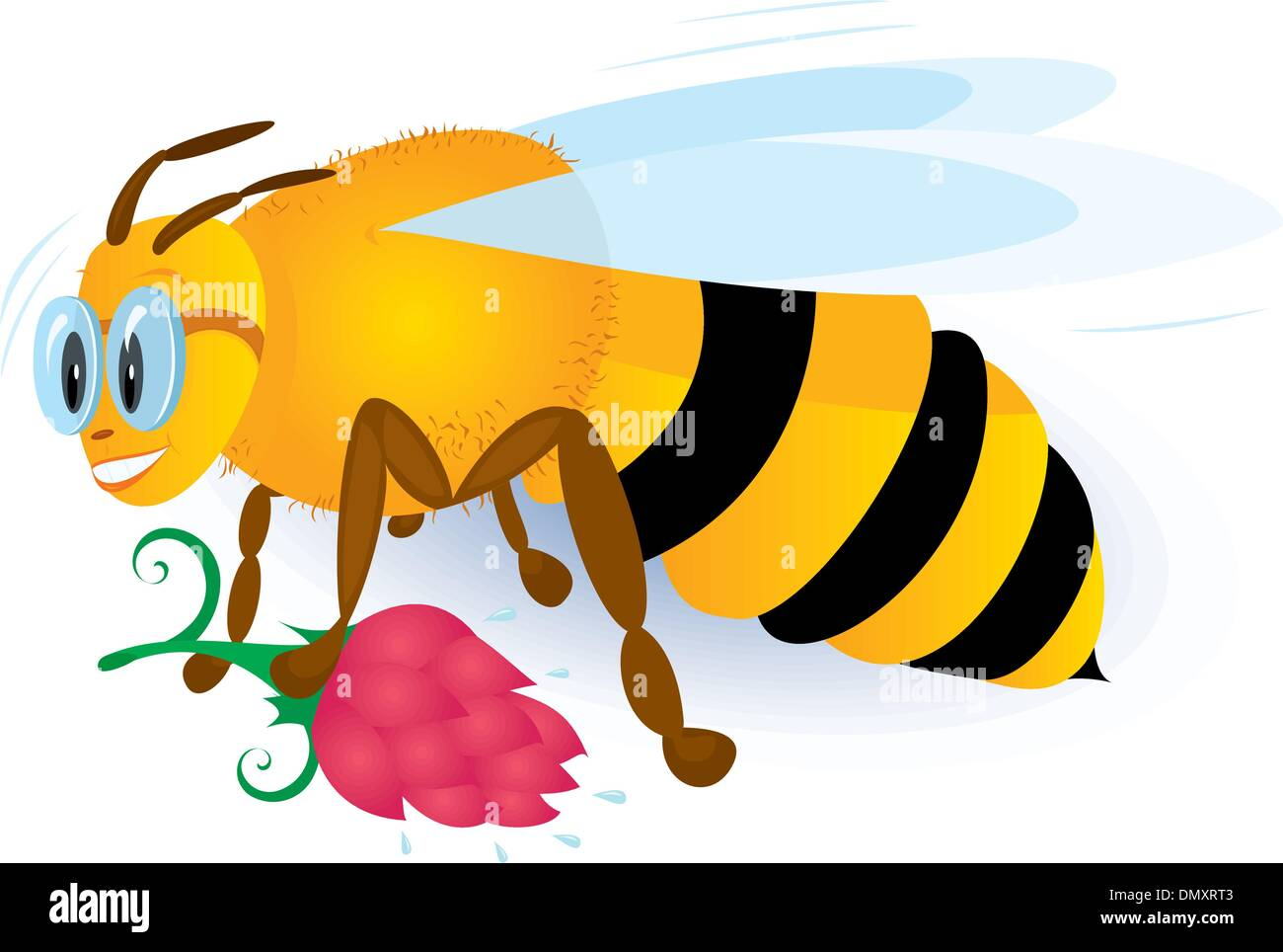 Bee with pink flower - Stock Vector