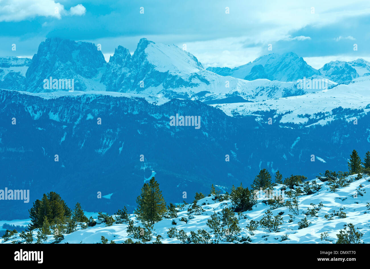 Beautiful winter mountain landscape (Rittner or Ritten Horn, Italy) - Stock Image