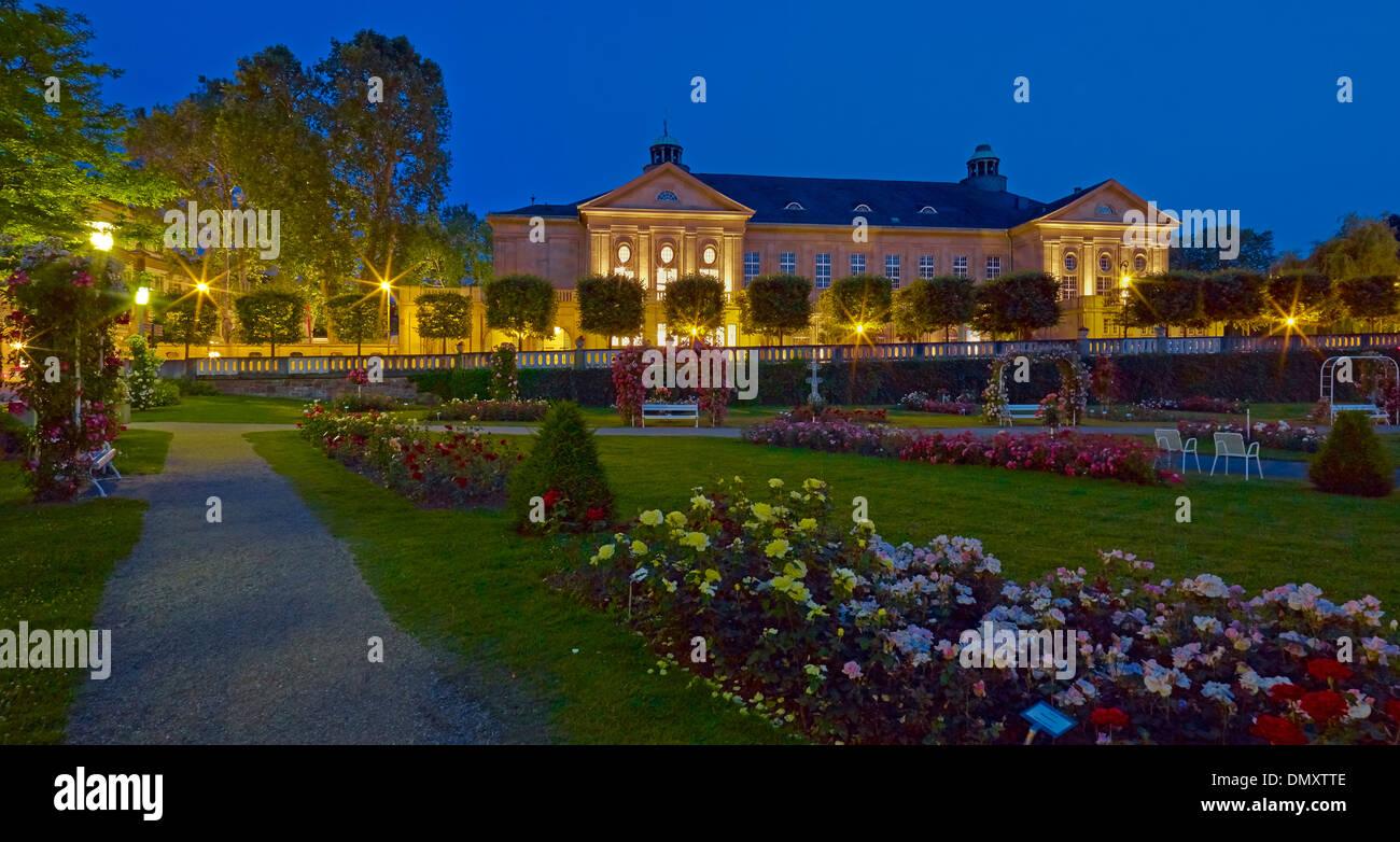 Rose Garden at the Regentenbau in Bad Kissingen, Lower Franconia, Bavaria, Germany Stock Photo