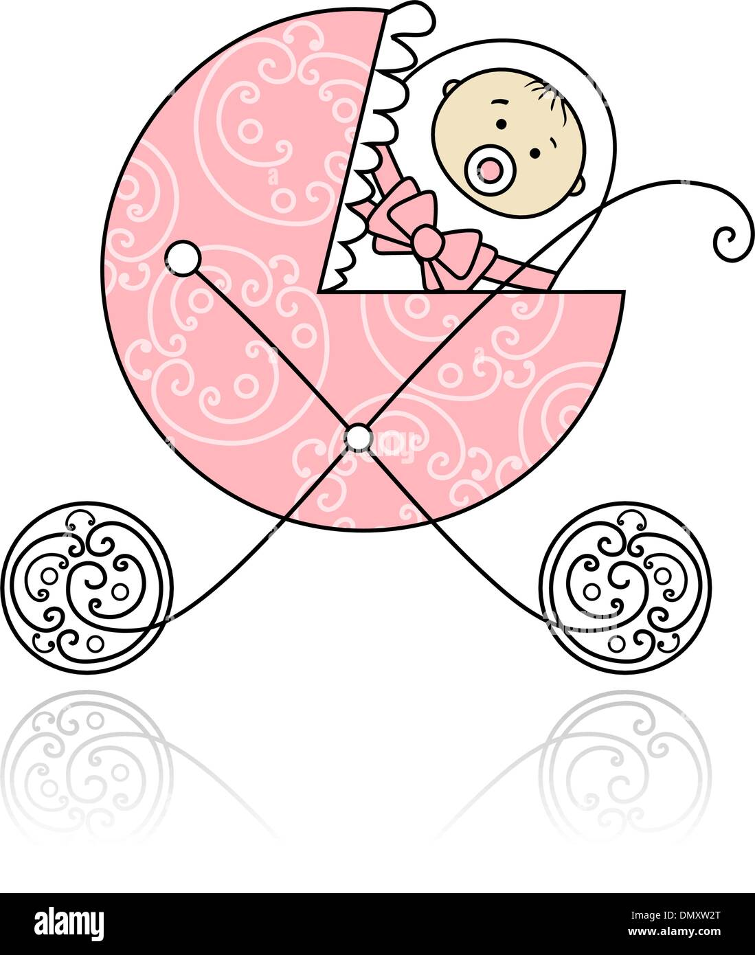 Newborn in baby's buggy for your design - Stock Image