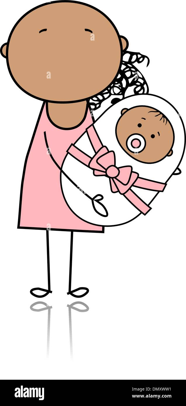 Happy mother smiling with newborn baby - Stock Image