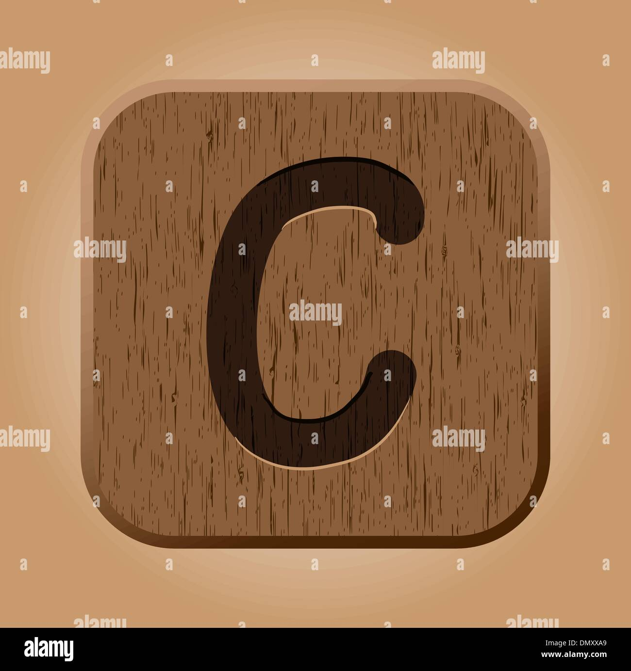 Hand drawn  wooden letter C. - Stock Image