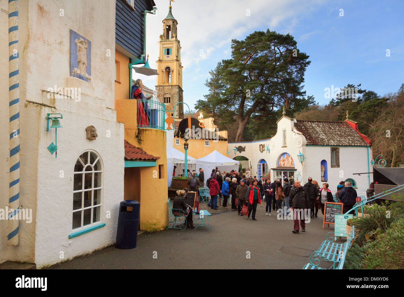 Visitors to Christmas Food and Craft Fair in Italian style tourists' village of Portmeirion, Gwynedd, North Wales, Stock Photo