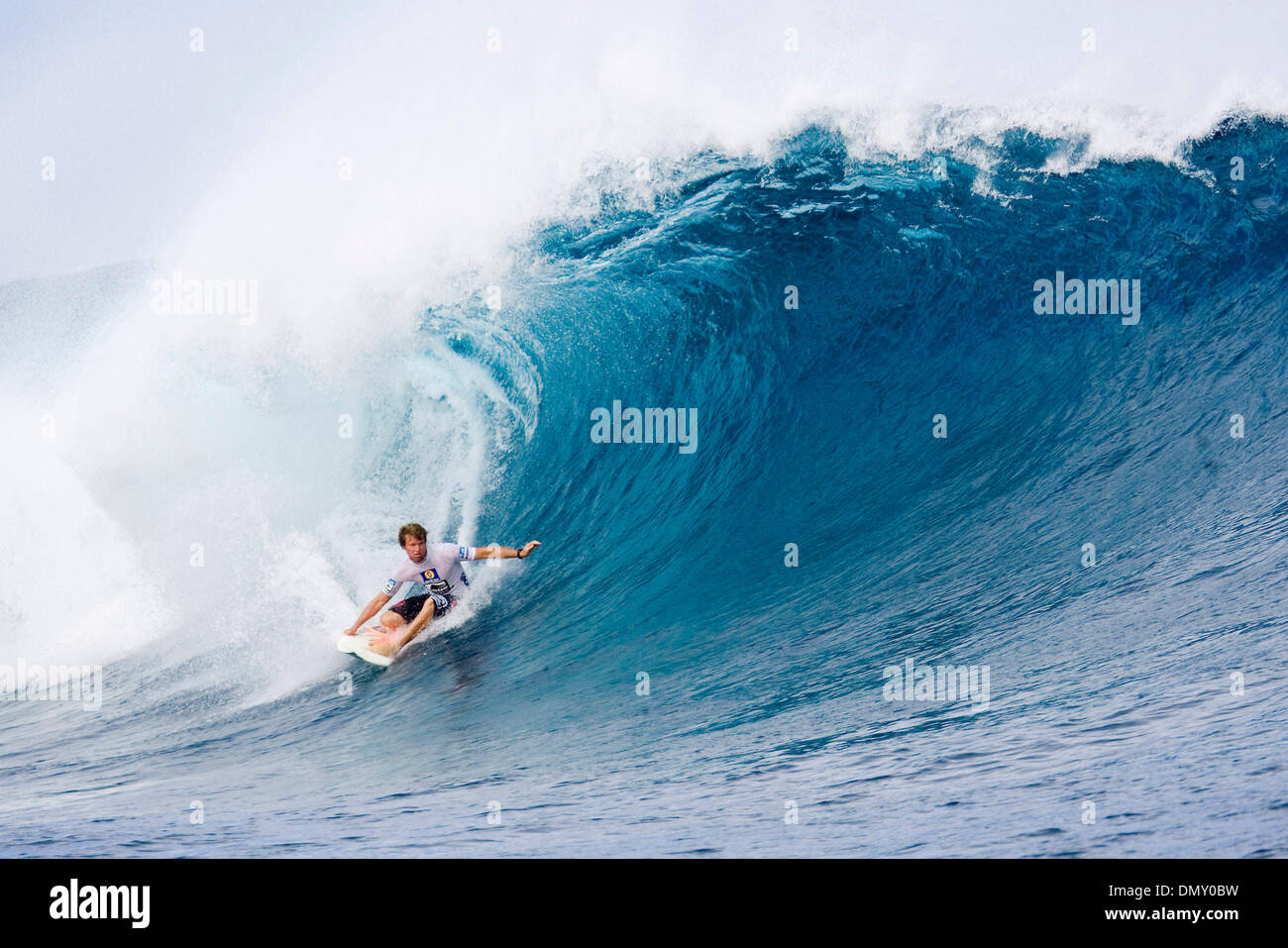 May 23, 2006; Tavarua Island, FIJI; TAJ BURROW (Yallingup, WA, Aus) narrowly beat wildcard Yadin Nicol (WA, Aus) in round two of the Globe WCT Fiji at Cloudbreak today. Burrow advanced to round three by less than a point, eliminating Nicol from the event. The Globe WCT Fiji is the fourth stop on the Fosters Men's ASP World Tour features the top 45 men in the world. The event takes  - Stock Image