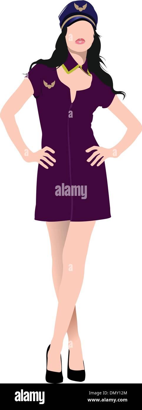 Air hostess isolated on white background. Stewardess. Vector illustration - Stock Image