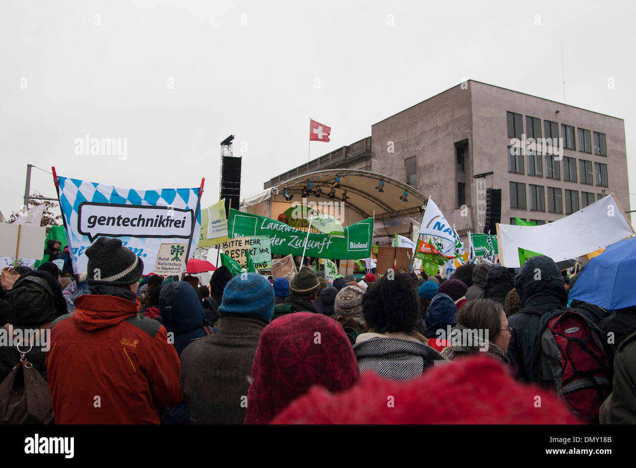 """""""Wir haben es satt"""" 2012. Demonstration against german and EU agricultural policy. Stock Photo"""