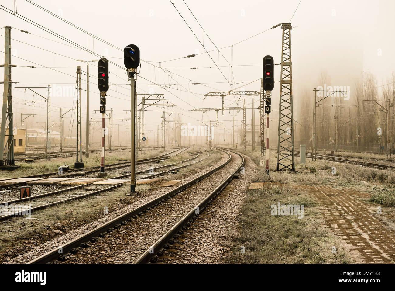 railroad tracks, light rail, sepia - Stock Image